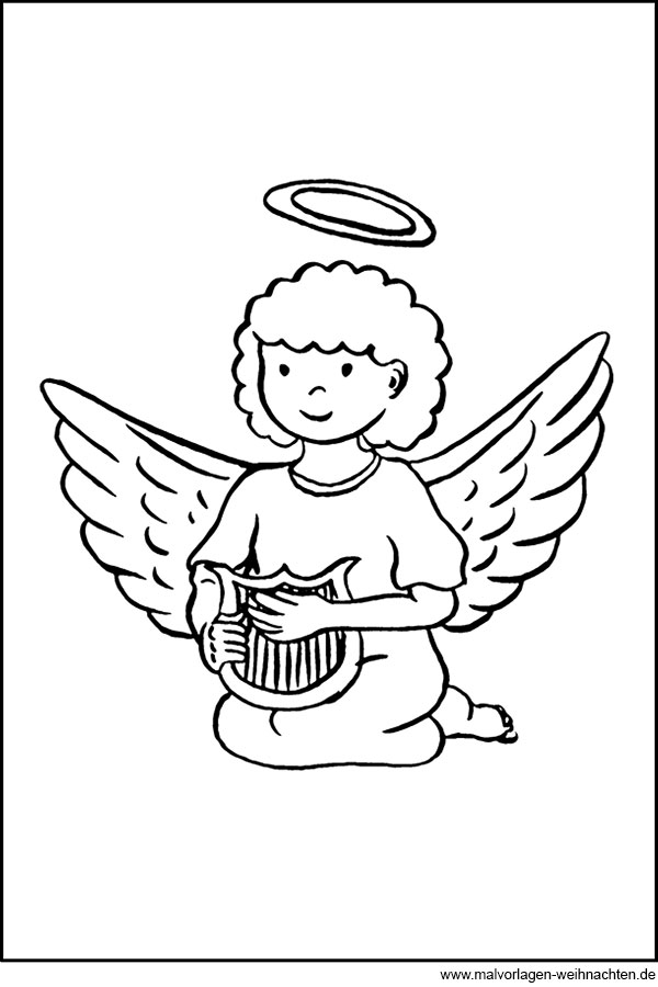 engel mit harfe - gratis ausmalbild