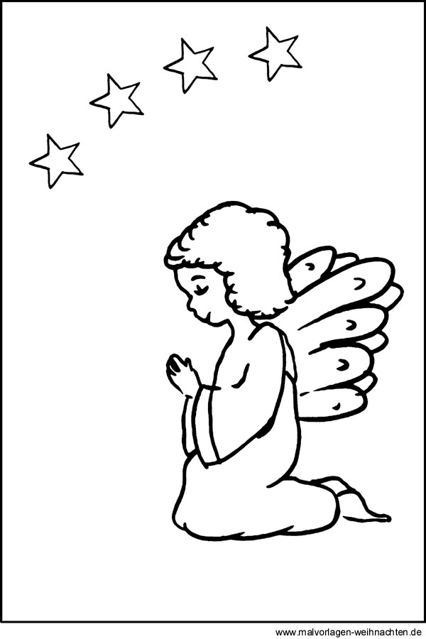 Ausmalbild Engel  Tolle Malvorlagen Für Kinder Zu Weihnachten