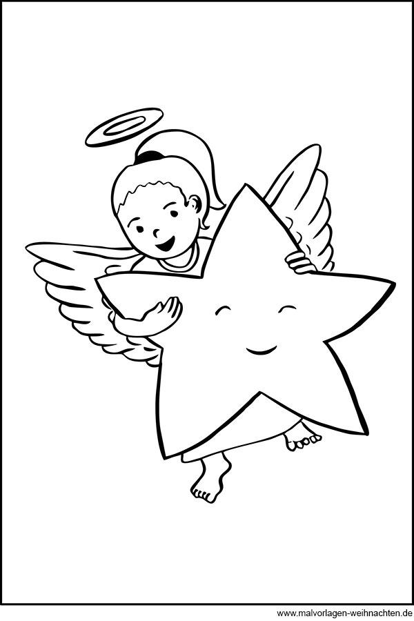 kleiner süßer engel mit stern - ausmalbild zum ausdrucken