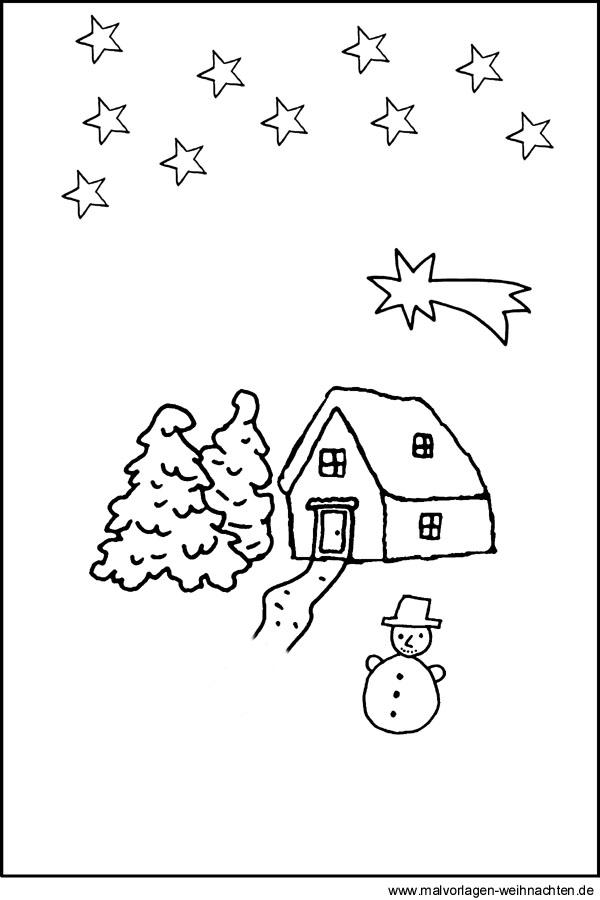 landschaft im winter - gratis weihnachtsbilder als malvorlagen