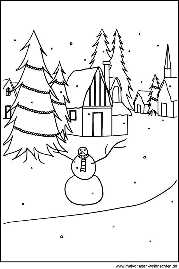 malvorlage winterdorf  motiv winterlandschaft zum