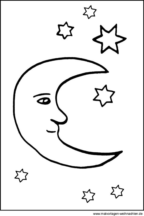 Mond und Sterne als kostenlose Malvorlage