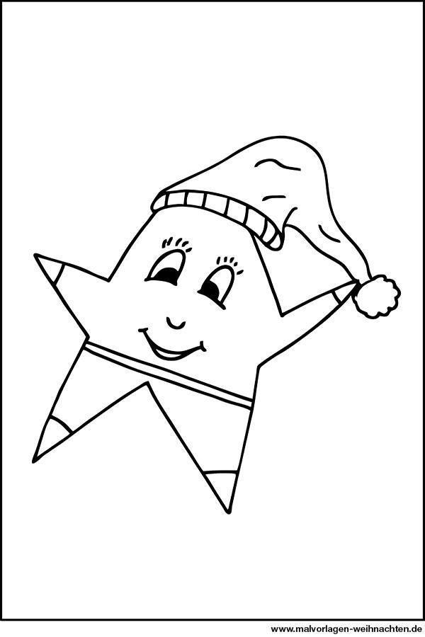 Stern mit Gesicht - kostenlose Ausmalbilder zum Ausdrucken