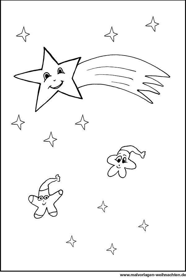 Stern mit Schweif  Ausmalbild