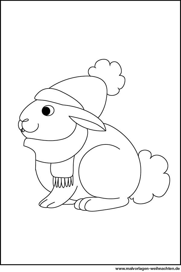 Hase Weihnachten - gratis Ausmalbilder für Kinder