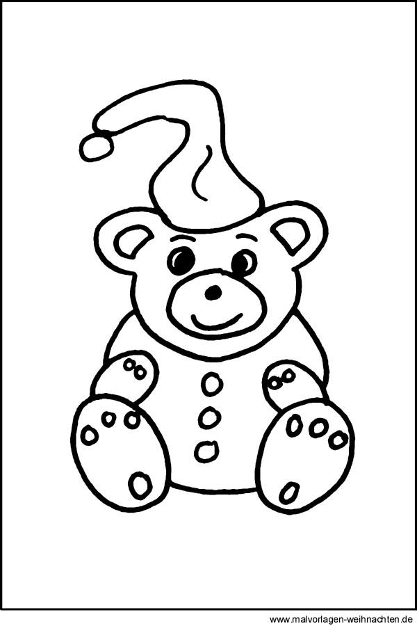 Malvorlage Bär Zu Weihnachten Teddybär Window Color Bild