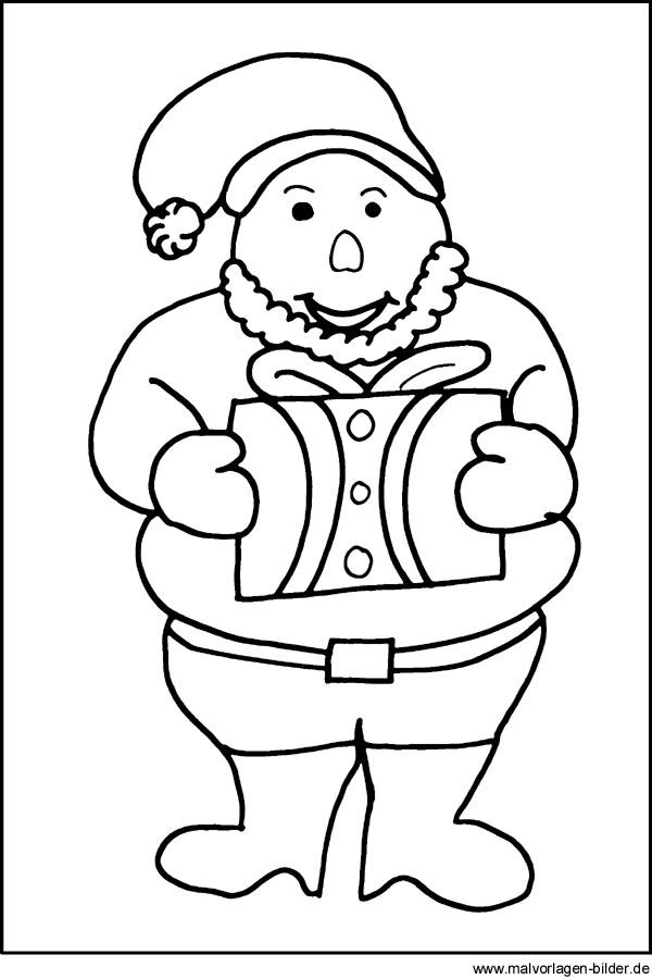 Ausmalbilder zu weihnachten weihnachtsmann mit geschenk als