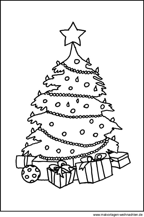ausmalbild weihnachten weihnachtsbaum mit geschenken. Black Bedroom Furniture Sets. Home Design Ideas