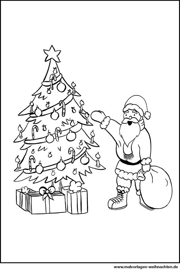 weihnachtsmann weihnachtsbaum geschenke - ausmalbild