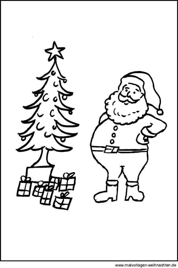 weihnachtsbaum und weihnachtsmann als gratis malvorlage