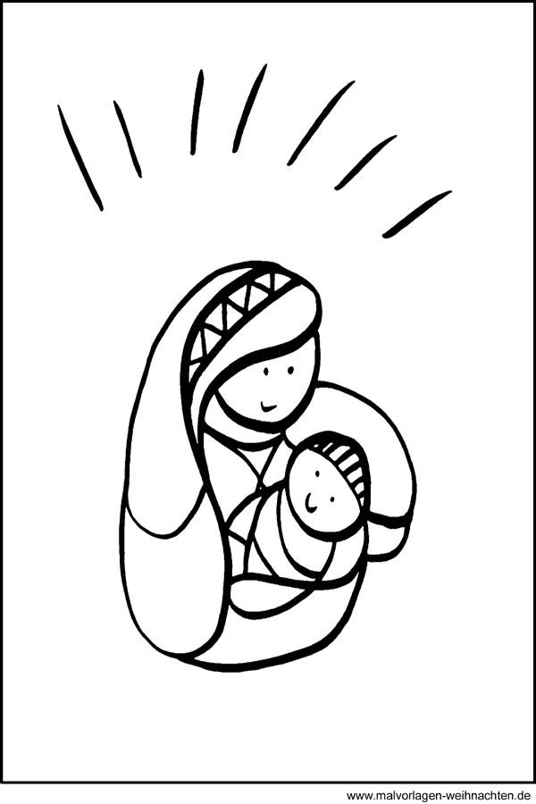 maria und jesus  malvorlagen window color bild zu weihnachten