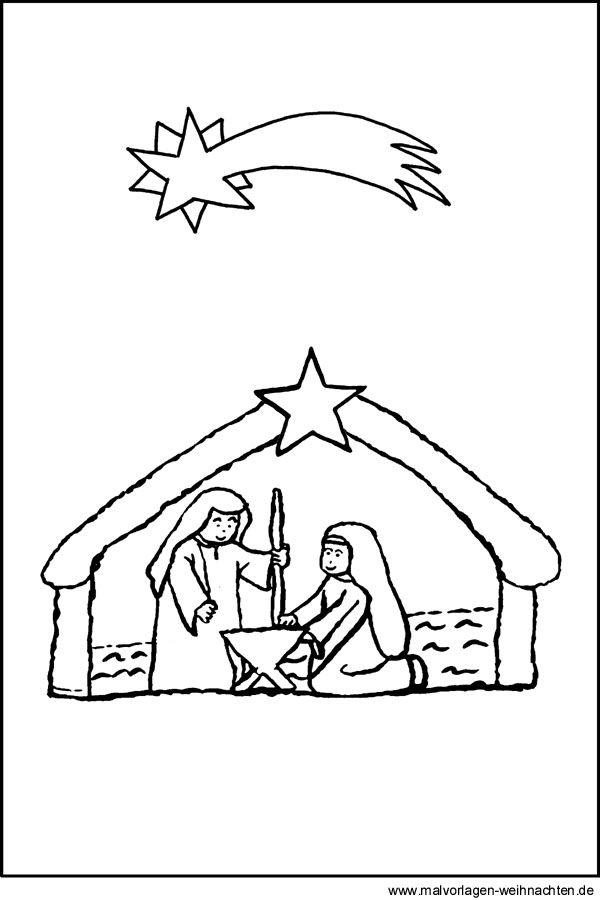 Weihnachtskrippe- Gratis Malvorlage zum Ausmalen und Ausdrucken