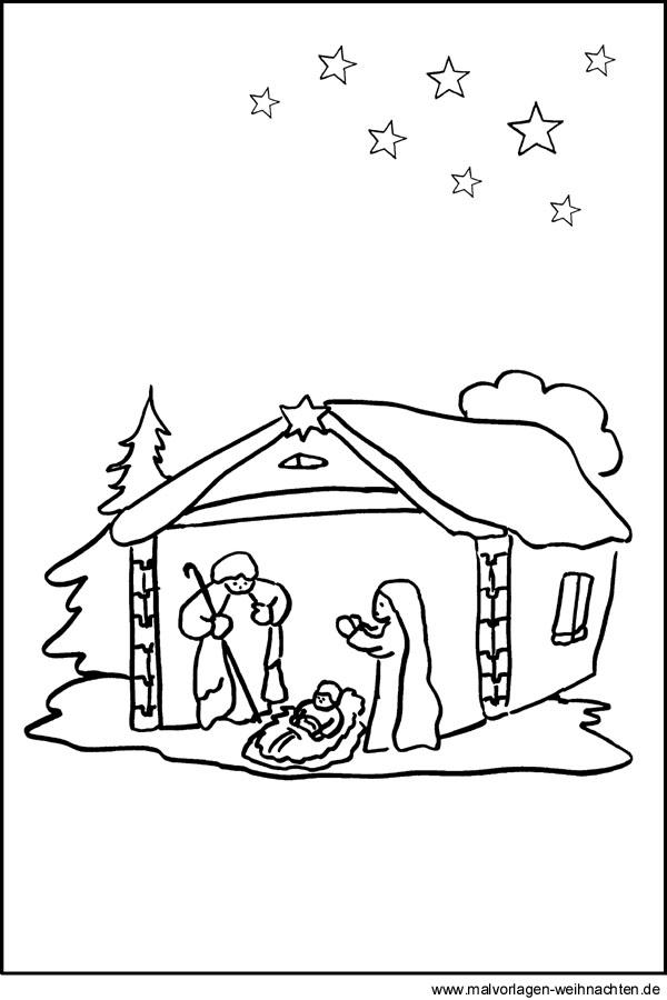 Malvorlage Von Einer Krippe Maria Josef Und Jesus