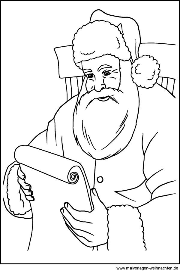 ausmalbilder vom weihnachtsmann zum ausdrucken und ausmalen. Black Bedroom Furniture Sets. Home Design Ideas
