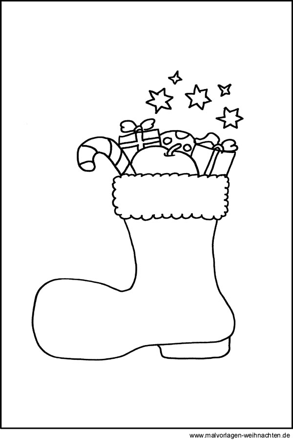 Weihnachtsstiefel als Malvorlage - Stifel an Nikolaus als Ausmalbild